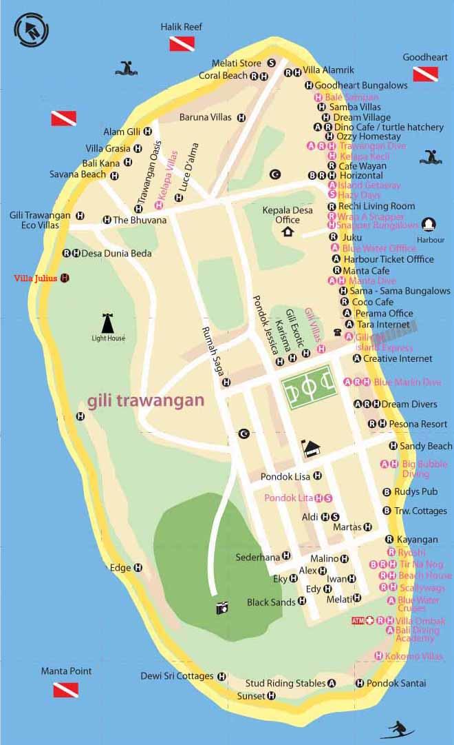 map gili trawangan hotel